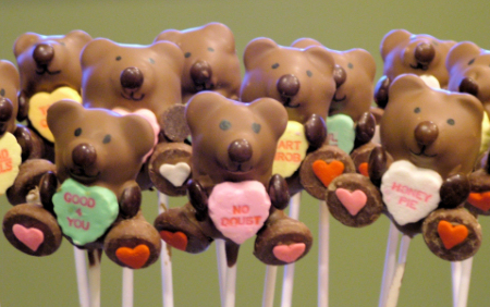Valentine's Cake Pop Bears